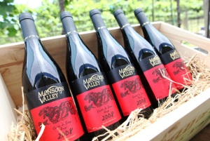 A case of Monsoon Valley Thai wine waiting for you to taste on your Thai winery tour