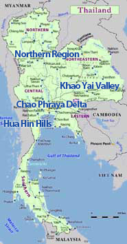 Map of Thailand showing the Thai wine regions